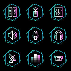 Media web icons, neon contour series