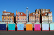 Leinwanddruck Bild - Colored beach huts at Brighton. East Sussex. England
