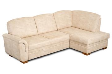 A sofa in a light fabric