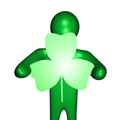 person holding shamrock shaped sign