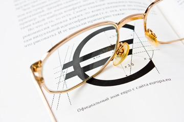 glasses on the book page