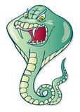 Illustration of cartoon cobra snake poster