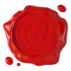 Sigillo rosso con simbolo di e-mail