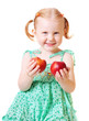 girl with peach isolated on white