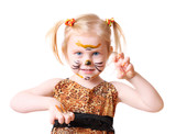 girl in suit of tiger