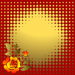 Abstract  red-golden floral background  with  place for the text