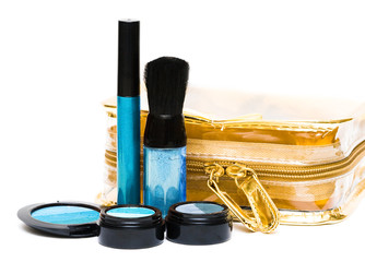 beautician and blue set for make-up