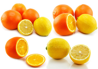Set of citrus fruits (lemon and orange) isolated