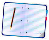 Ruled notebook and pencil poster