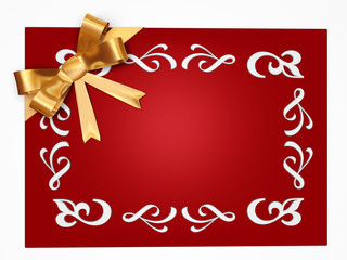 red pattern card with gold ribbon