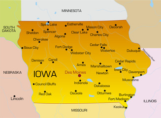 Vector color map of Iowa state. Usa