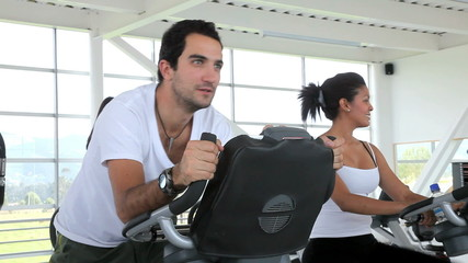 People exercising at a gym