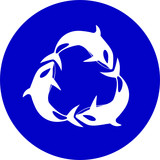 Vector killer whale icon. Blue and white. Simply change. poster