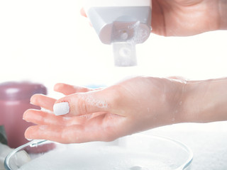 Washing of a female hands