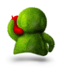 Cute green person talking over the mobile phone