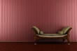 classic sofa in front of red striped wall