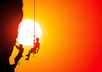 Climbers at sunset