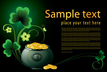 Patrick background with pot, coins and shamrock