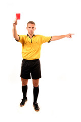 football judge with card