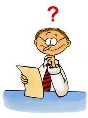 Business Comics Nr. 3 - Mann schaut fragend auf ein Blatt Papier