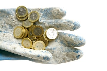 Euro currency coins over dirty gloves
