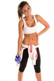 Beautiful young brunette girl working out