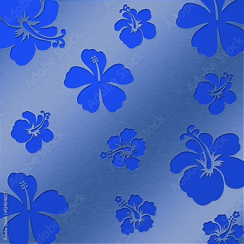 Flowers blue - Perforated plate - Stainless Steel