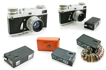 Set of film SLR cameras isolated