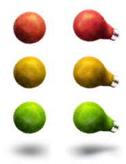 Light-bulbs made of green red or yellow grass