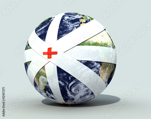 earth globe bandaged
