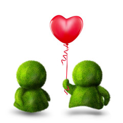 Cute green man giving colorful balloon to his beloved one