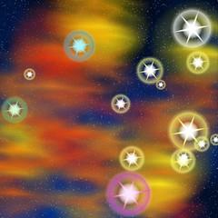 étoiles multicolores