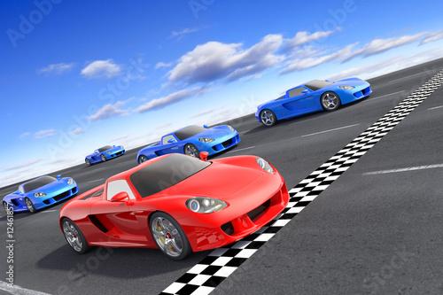 Foto op Canvas Snelle auto s Winner concept. Hi-res 3d rendering.