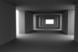 Fototapety Tunnel with changing light and dark stripes. Hi-res 3d.