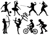Fototapety Silhouettes of children playing sports