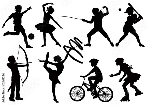 Illustration: Silhouettes of children playing sports