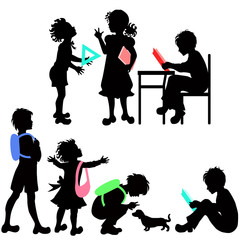 Silhouettes of schoolchildren