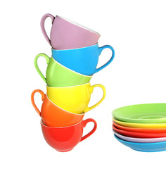 Multi-coloured cups and saucers1