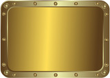 Metal golden platinum with the rounded corners with rivets poster