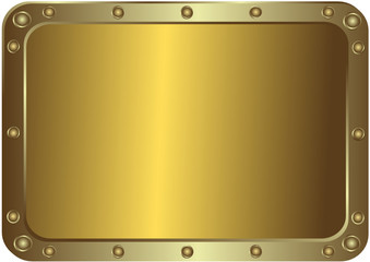Metal golden platinum with the rounded corners with rivets