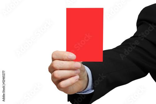 Geschäftsmann zeigt rote Karte