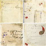 Collection of grunge paper textures with vintage handwriting poster