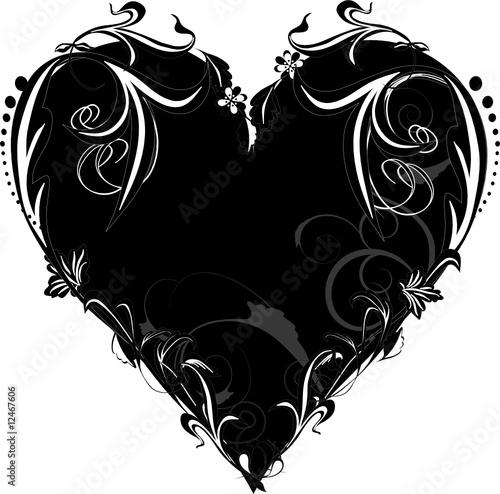 decorative black and white heart