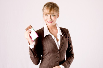 business woman with chocolate bar