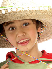 child wearing a mexican sombrero