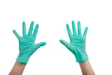 Hands in surgical gloves poster