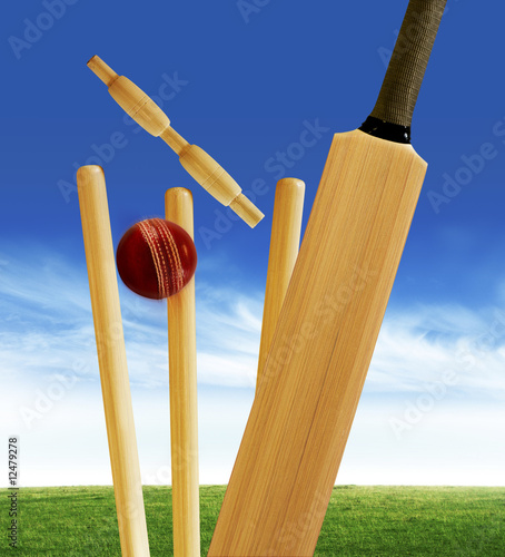cricket bat and ball and stumps. Cricket bat and stumps