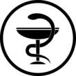 Vector pharma symbol. Black and white. Simply change.
