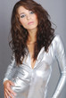 Glamour woman wearing silver dress