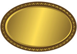 Oval metal volumetric plate with vintage an ornament on edges poster